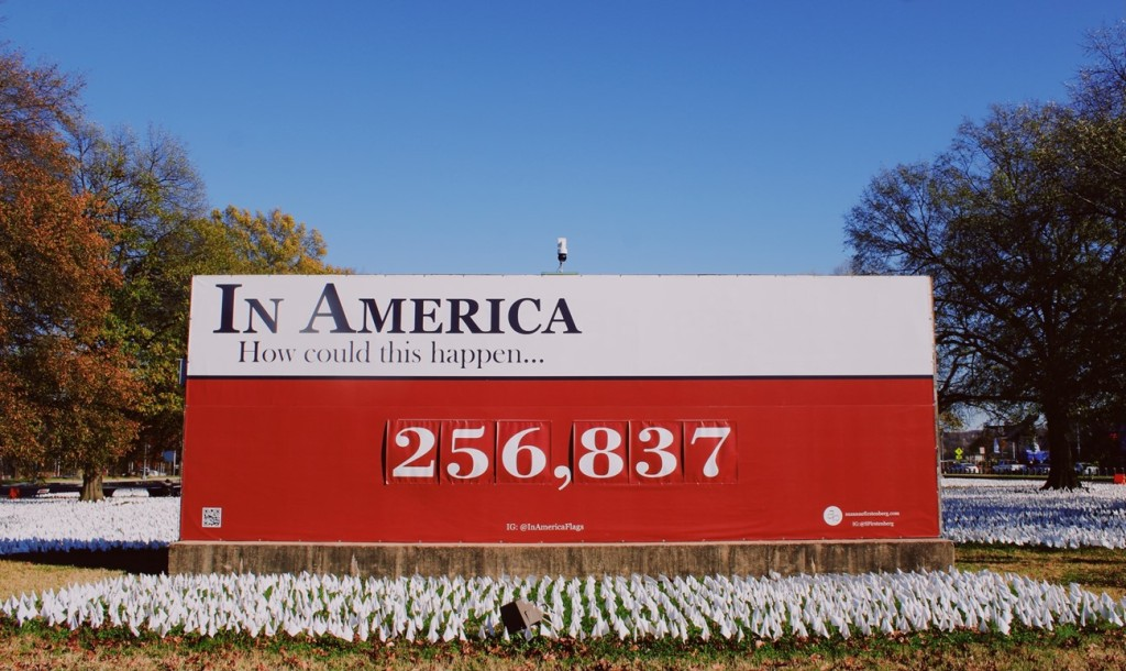 """Photo of large red and white sign that reads """"In America, how could this happen"""" and includes the number 256, 837. Underneath the sign are rows of white flags planted in the ground."""