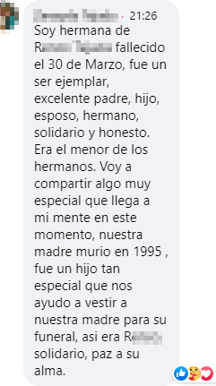 A screenshot of a memorial message in Spanish from Facebook.